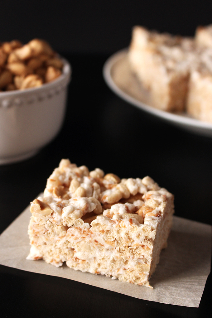 Toasted coconut cashew rice krispie treats