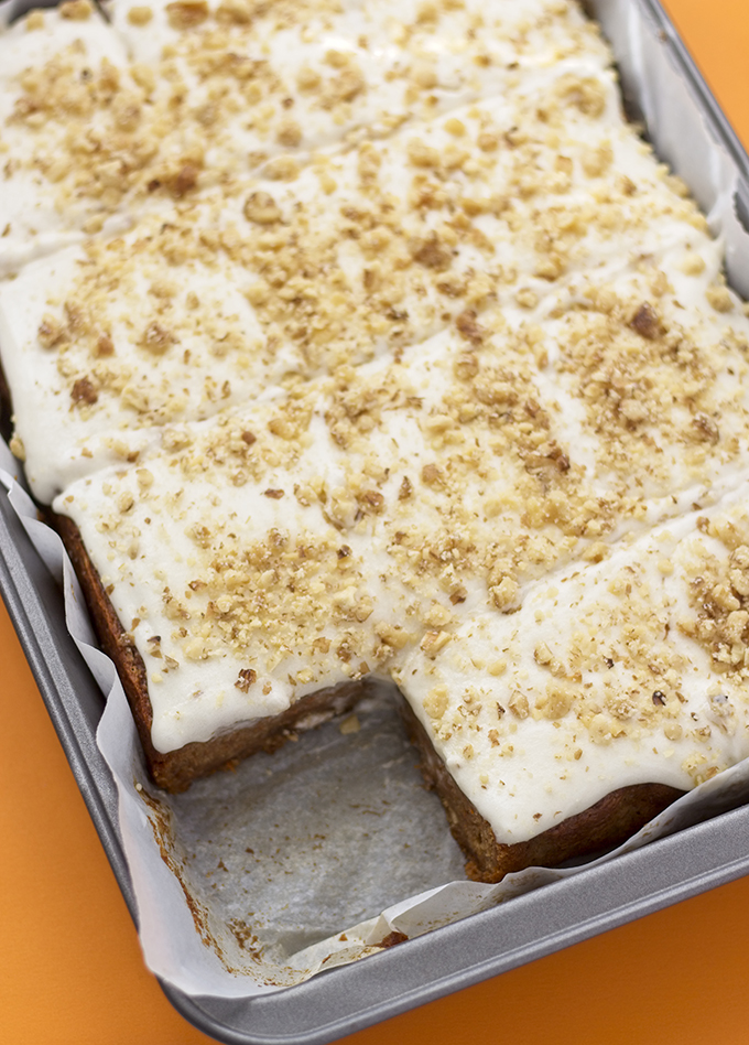 This recipe for Vegan Carrot Cake is super easy, and OIL FREE! The cake is moist, perfectly spiced, and topped with a smooth vegan cream cheese icing. Carrot cake doesn't have to be a guilty pleasure anymore!