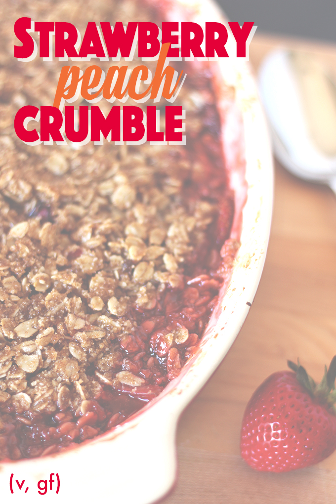 Easy Strawberry Peach Crumble (V, GF)