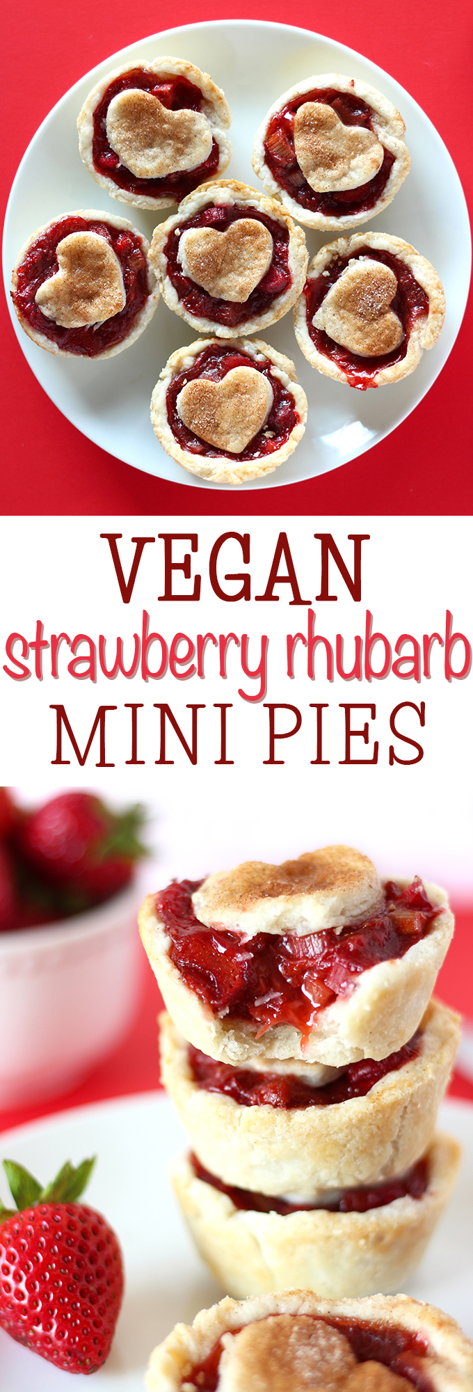 The dream team combination of strawberry and rhubarb come together in these amazing vegan mini pies! A delicious filling and a simple coconut oil crust make this classic dessert irresistible!